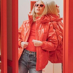 H&M Red Patent Puffer Jacket Shiny Blogger Fav